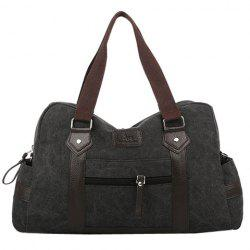 Leisure Zipper and Canvas Design Men's Messenger Bag