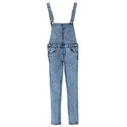 Stylish Criss-Cross Bleach Wash Denim Overalls For Women - BLUE