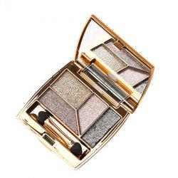 Practical 4 Colours Diamond Shimmer Eyeshadow Palette with Mirror and Brush -
