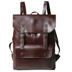 Retro PU Leather and Two Buckles Design Men's Backpack - COFFEE