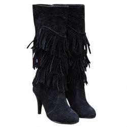 Stylish Multi-Layer Fringe and Solid Color Design Women's Mid-Calf Boots