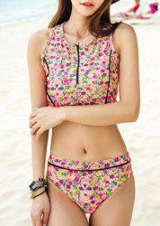 Chic Floral Printed Zip Up Tank Top and Briefs Two-Piece Swimwear For Women