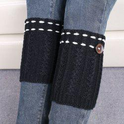 Pair of Chic Strappy and Button Embellished Knitted Boot Cuffs For Women - BLACK