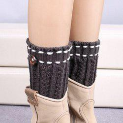 Pair of Chic Strappy and Button Embellished Knitted Boot Cuffs For Women - DEEP GRAY