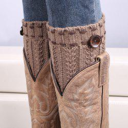 Pair of Chic Strappy and Button Embellished Knitted Boot Cuffs For Women - KHAKI