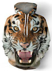 Hot Sale Drawstring Hooded Front Pocket Cool 3D Tiger Print Long Sleeves Men's Loose Fit Hoodie - COLORMIX