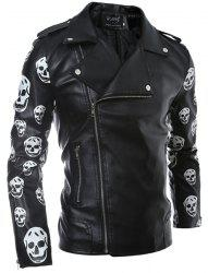 Turn-Down Collar Skull Pattern Print Long Sleeve Men's PU-Leather Coat - BLACK