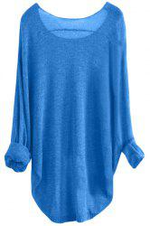 Women's Stylish Scoop Neck Asymmetrical Long Sleeve Sweater