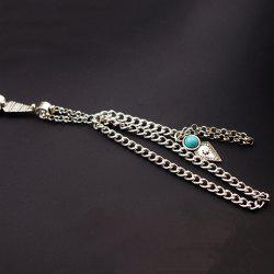 Vintage Exaggerated Faux Turquoise Layered Bracelet For Women