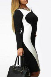 Elegant Round Collar Color Block Long Sleeve Dress For Women