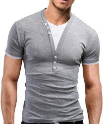 Faux Twinset V-Neck Buttons Embellished Short Sleeve Slimming Men's T-Shirt - LIGHT GRAY