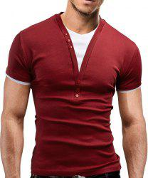 Faux Twinset V-Neck Buttons Embellished Short Sleeve Slimming Men's T-Shirt - WINE RED