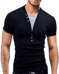 Faux Twinset V-Neck Buttons Embellished Short Sleeve Slimming Men's T-Shirt