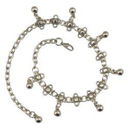 Vintage Flower Shape Round Bead Tassel Body Chain For Women - SILVER