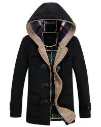 PU Leather Spliced Stereo Pocket Horn Button Hooded Long Sleeves Men's Cashmere Blend Coat -