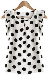 Flounce Cuffs Polka Dot Scoop Neck Blouse For Women -