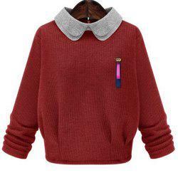 Sweet Peter Pan Collar Monkey Brooch Design Pullover Sweater For Women -
