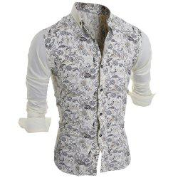 Turn-Down Collar Color Block Splicing Floral Print Long Sleeve Men's Shirt - COLORMIX