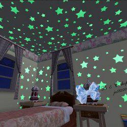 Stylish 100 PCS in The Dark Stars Shape Home Glow Wall Stickers
