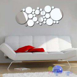 3D Removeable Multi-Piece Circle Mirror Sticker For Walls - SILVER
