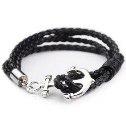 Anchor Faux Leather Layered Bracelet - BLACK