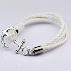 Anchor Faux Leather Layered Bracelet