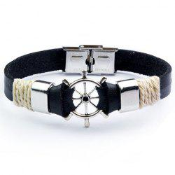 Rudder Shape Faux Leather Chain Bracelet