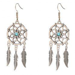Pair of Fashionable Hollow Out Feather Tassel Earrings For Women