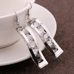 Fake Crystal Hollow Out Drop Earrings - SILVER