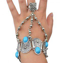 Vintage Alloy Turquoise Geometric Bracelet With Ring For Women -