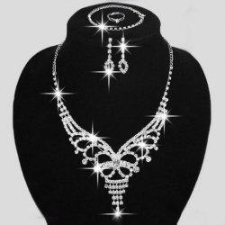 A Suit of Alloy Rhinestoned Hollow Out Necklace Bracelet Ring and Earrings -