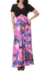 Bohemian Sweetheart Neckline Short Sleeve Printed Maxi Dress For Women -