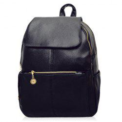 Vintage Style PU Leather and Black Design Women's Backpack -