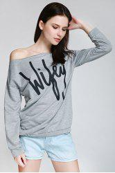 Sexy Letter Printed Slash Neck Pullover Sweatshirt For Women - GRAY