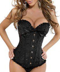 Bowknot Design Lace-Up Corset and Panties Twinset For Women
