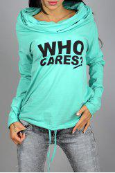 Casual Ruched Hooded Long Sleeve Letter Printed Pullover Hoodie For Women