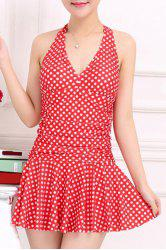 Stylish V-Neck Halter Polka Dot One-Piece Swimsuit For Women -