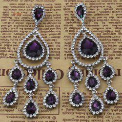 Pair of Rhinestoned Faux Crystal Water Drop Earrings