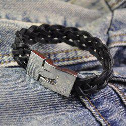 Chic Retiform Hand Knitting Faux Leather Chain Bracelet For Men