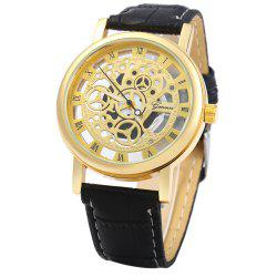 Transparent Dial Quartz Watch with Hollow-out Pattern for Men
