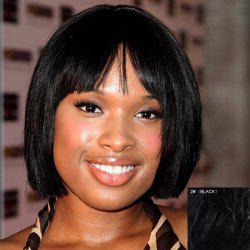 Bob Style Short Capless Outstanding Straight Full Bang Real Human Hair Wig For Women -