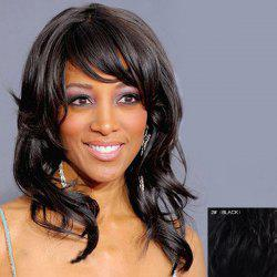 Graceful Side Bang Capless Vogue Long Fluffy Wavy Real Natural Hair Wig For Women -