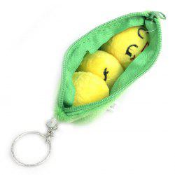 2 in 1 Cute Plush Soybeans Pod Style Wallet Bag Key Ring - GREEN