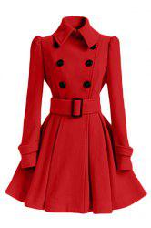 Stylish Turn-Down Collar Long Sleeve Solid Color Belted Wool Women's Dress Coat -
