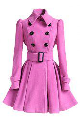 Stylish Turn-Down Collar Long Sleeve Solid Color Belted Wool Women's Dress Coat