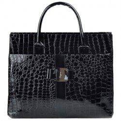 Fashionable Embossing and Metal Design Women's Tote Bag - BLACK