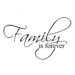 Removable Words Family Is Forever Solid Color Wall Sticker For Home - BLACK