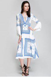 Long Sleeve Printed Swing Cut Out Beach Dress - BLUE/WHITE S