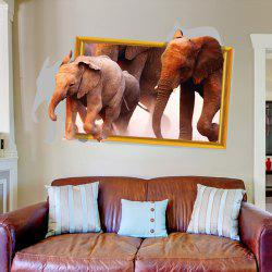 Elephant Pattern 3D Animals Wall Stickers For Kids Room - BROWN