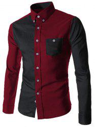 Color Block Spliced Turn-Down Collar Long Sleeve Pocket Button-Down Men's Shirt - RED WITH BLACK